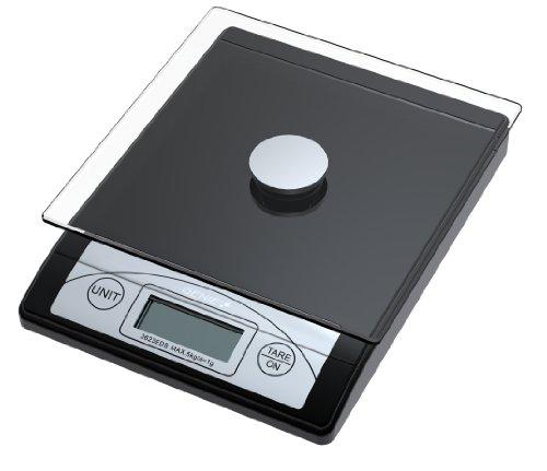 Genie 3623 EDS digitale brievenweegschaal (van 1 g tot 5000 g, van robuust kunststof incl. glasplaat, LCD-display) zwart