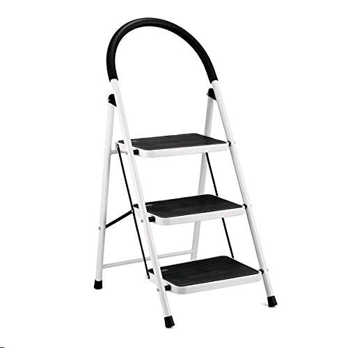 KingSo 3 Step Ladder Folding Step Stool with Steel Wide Anti-Slip Pedal and Handgrip Anti-Slip, Lightweight 350lbs Portable Steel Step Stool, (350lbs Capacity)