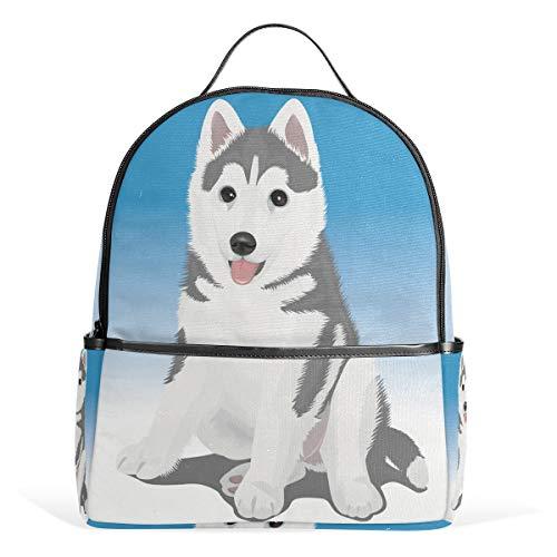 Eslifey Sac à dos mignon petit husky sac à dos pour étudiants