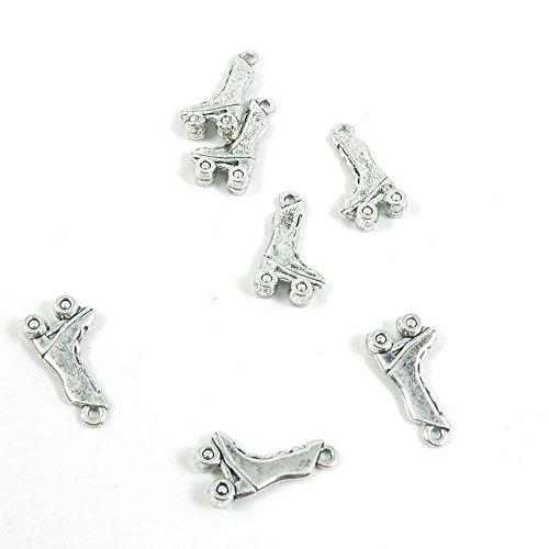 Schmuckanhänger W9OP3W, Antik-Look, für Rollschuhe, Schuhe, Basteln, Basteln, Perlen, silberfarben silberfarben antik-optik
