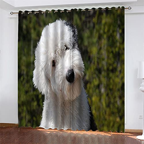 NQING Dog Series 3D Digital Printing Perforated Curtains, Black-Out And Noise-Reducing Polyester Curtains, Suitable For Bedroom, Living Room And Kitchen 2xW117xH160cm