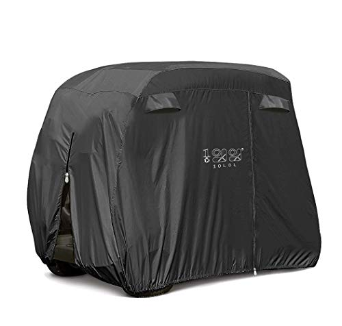 10L0L Universal 2-4 Passenger Golf Cart Cover for EZGO, Club Car and Yamaha, Waterproof Sunproof and Durable, Black