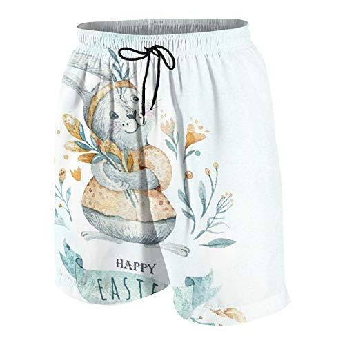 MAYBELOST Pantaloncini da Spiaggia da Uomo,Acquerello Buona Pasqua con Coniglietti Boho, Calzoncini da Bagno ad Asciugatura Rapida Costumi da Bagno con Fodera e Tasche in Rete