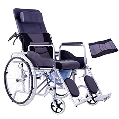 CHHD Transport Wheelchair - Foldable Semi-Recumbent Full-Recumbent Travel Portable Scooter with a Comfortable Seat for Traveling for The Elderly Easy to Operate (Size : #6 Leather)