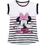 Minnie Mouse Nachthemd Nachtwäsche Nachtrobe Kurz Disney (Weiß-Blau, 116)