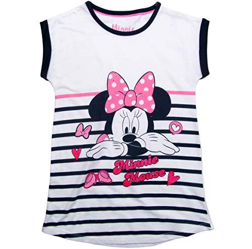 Minnie Mouse Nachthemd Nachtwäsche Nachtrobe Kurz Disney (Weiß-Blau, 98)