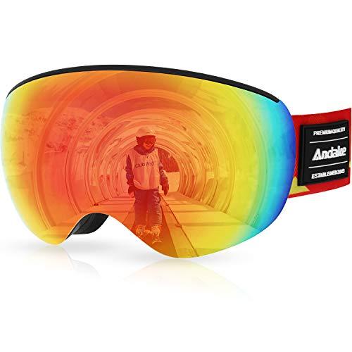 Andake Gafas de Esqui Niños 4-10 años Portador de Gafas Protección UV400 Antivaho/Rayado Negras Compatibles con el Casco de Lente Esférica Espejo Gafas de Snowboard de Gafas 4 Colores