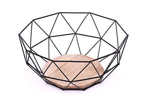Obstkorb Schwarz ,Obstschale Metall Design Metall und Holz, 26 x 26 x 12 cm