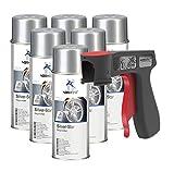 Peinture aérosol Silver Star vernis argenté pour jantes spray 6x 400 ml + 1x poignée originale pour bombes aérosols