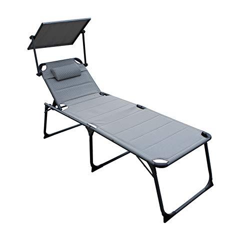 QMBasic XXL SONNENLIEGE gepolstert 48 cm KOMFORTHÖHE mit Sonnendach und Kissen Alu Gartenliege klappbar (Concrete)