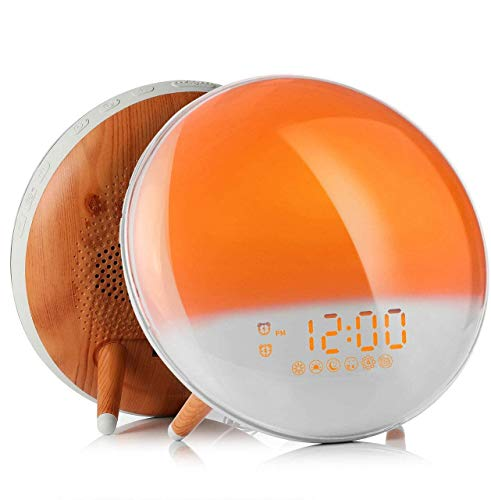 Fitfirst Wecker mit Aufwachlicht, Sonnenaufgang/Sonnenuntergang, Simulation mit zwei Alarmen, Schlummerfunktion, Stimmungslampe, FM-Radio und 7 natürliche Klänge für Kinder, Erwachsene, Zuhause, Büro