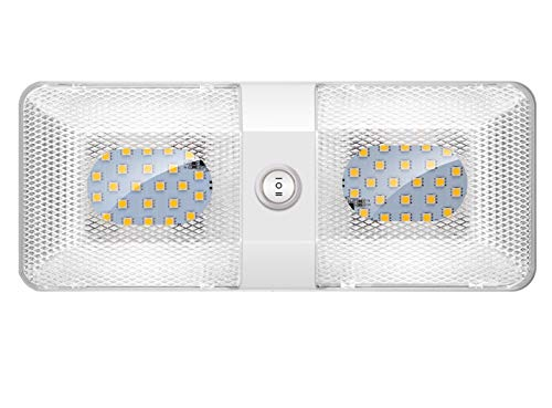 BlueFire 1 Pack Upgraded Super Bright DC 12V Led RV Ceiling Double Dome Light RV Interior Lighting Trailer Camper RV Lights Interior with ON/Off Switch for Trailer Camper Car RV Boat (Natural White)