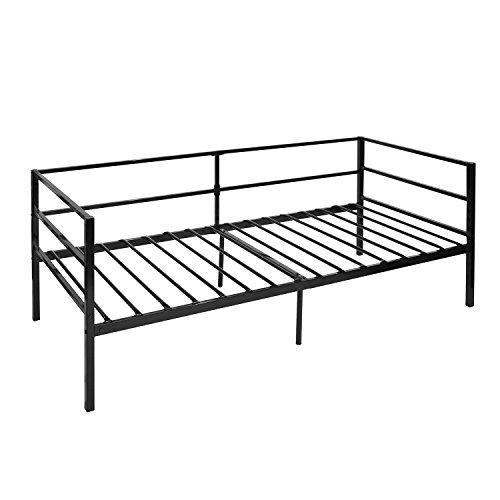 DORAFAIR Minimalista Sofá Cama para Dormitorio Salón Cuarto de Invitados, Adecuado para Colchón de 90 * 190 cm, Negro