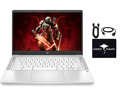 2020 Newest HP Chromebook 14' HD Laptop for Business and Student, Intel Celeron N4000, 4GB RAM, 32GB eMMC, Backlit-KB, Webcam, Fast Charge, WiFi, Bluetooth, USB-A&C, Chrome OS, w/GM Accessories