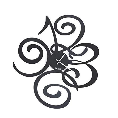 Arti & Mestieri Love Filomena - Orologio da Parete di Design 100% Made in Italy - in Ferro, 40 x 45 cm - Nero Goffrato