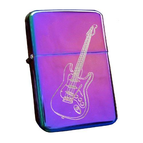 Cool Mechero de gasolina Rainbow Spectrum con grabado de guitarra eléctrica