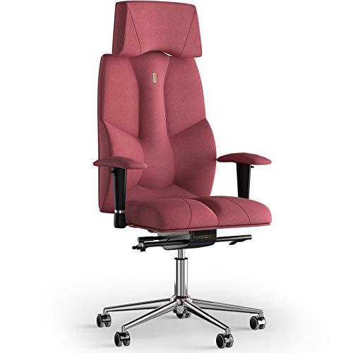 KULIK SYSTEM Bürostuhl mit patentierter ergonomischer Rückenstütze, Sitzkissen, ergonomischer Bürostuhl, kann als Computerstuhl zu Hause verwendet Werden – Stoff (Azur - Koralle)