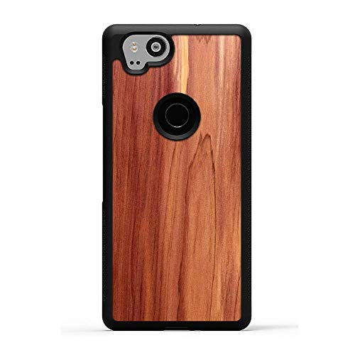Carved Pixel 2 Eastern Red Cedar Wood Traveler Protective Case, Unique Real Wooden Phone Cover (Rubber Bumper, Fits Google Pixel 2)