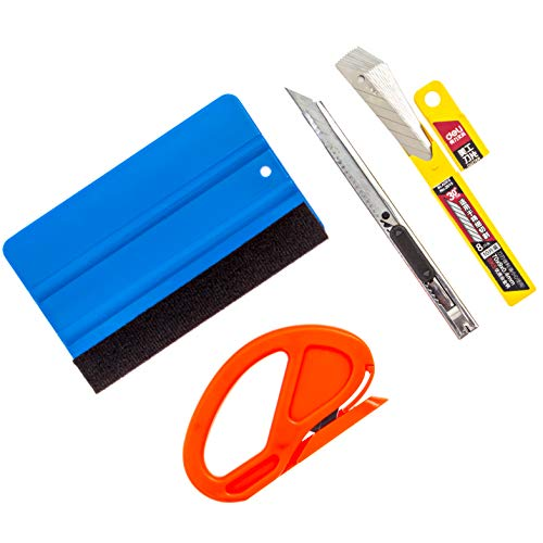 Gold Label Detailing Vinyl Wrapping Accessory Kit | Plastic Squeegee with Felt Scratch Protector | Vinyl Slicing Tool | Retractable 30 Degree Blade Knife with 10 Blade Replacements