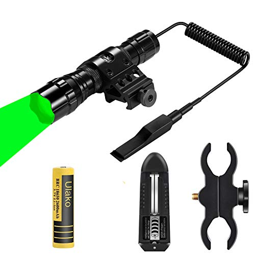 Ulako Green Light 350 Yards Adjustable Zoomable LED Coyote Hog Pig Varmint Predator Hunting Light Flashlight with Remote Pressure Switch