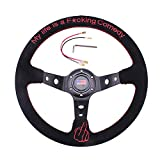"""RASTP Universal Racing Steering Wheel 13.6""""/345mm 6 Bolts Grip Suede Wrapped with Horn Button for Car Boat Truck Yacht"""