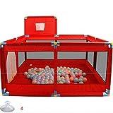 32 sq ft rojoPostes para Vallas con Malla Transpirable,4 Piezas Colchon para Parque para Parque Infantil Parque Infantil Valla Play Center Portátil