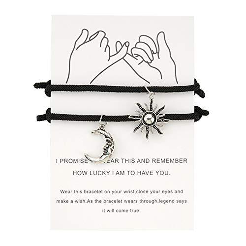 Pulsera de cuerda ajustable con diseño de luna y sol, amuleto de la suerte, hecha a mano, joyas trenzadas hechas a mano, joyas para mujeres, mujeres y niñas, padres, niños, amigos, parejas.