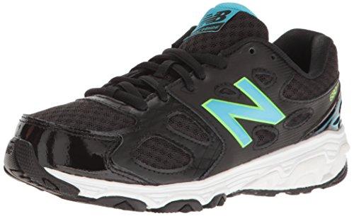 New Balance Girls' KR680 Running Shoe, Black/Blue/Green, 2 Medium US Little Kid