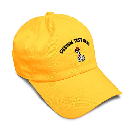 Custom Soft Baseball Cap Dalmatian Firefighter Helmet Embroidery Twill Cotton Dad Hats for Men & Women Buckle Closure Golden Yellow Personalized Text Here
