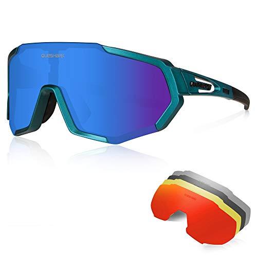 Queshark Gafas Ciclismo CE Certification 1 Polarizadas 4 HD Lentes Intercambiables UV...
