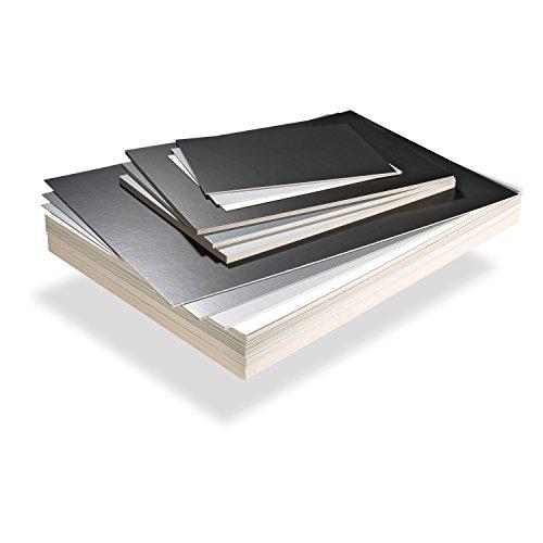 plusform Präsentationspappe (50 Stück), Schwarz/weiß glänzend, Din A3 / 1,5 mm