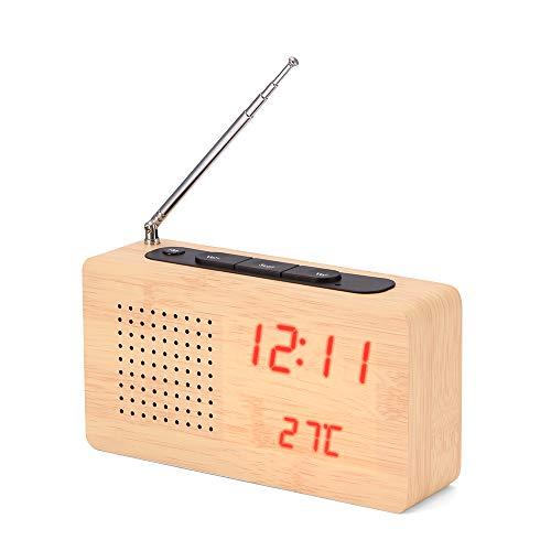 Lemonmax Radiowekker, retro-FM-radio van hout met temperatuurweergave en wekfunctie voor de slaapkamerkantoor ?? rood