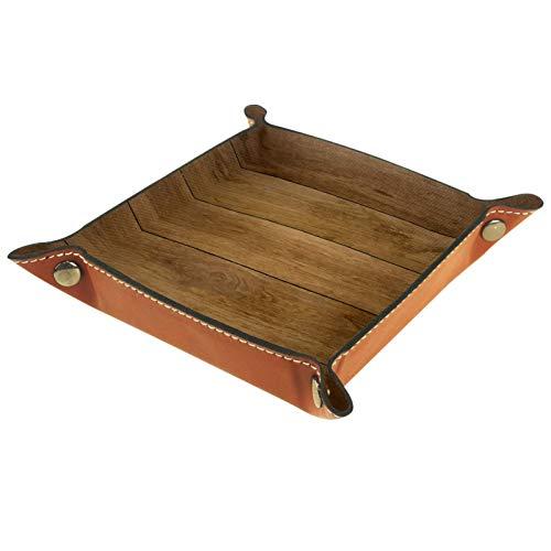 ATOMO Bandeja de almacenamiento de cuero marrón azulejos de madera patrón clave joyería moneda catchall Sundries organizador cabecera pequeña bandeja clave teléfono joyería almacenamiento