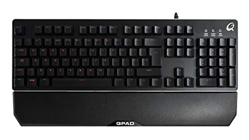 Qpad MK-40 Pro Gaming Membranical Keyboard, Halbmechanische Tastatur, UK Layout, Metall Oberfläche, Beleuchtung, schwarz