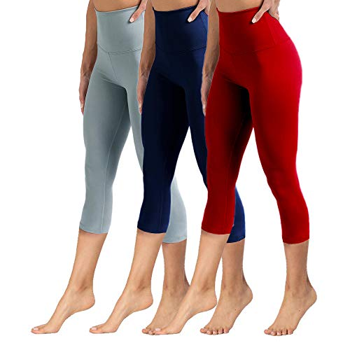 High Waisted Capri Leggings for Women Tummy Control Soft Opaque Slim Pants for Cycling, Yoga, Running