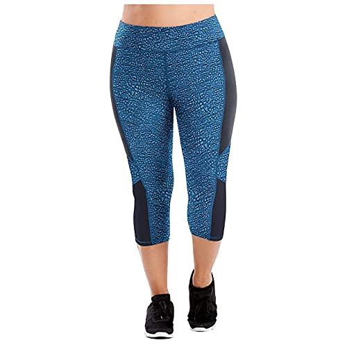 FMYONF Leggings de deporte de cintura alta con estampado negro, talla grande, azul, XXXL