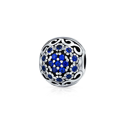 Blue Silver Floral Swirl Crystal Spacer Bead 925 Sterling Silver Core Fits European Charm Bracelet For Women For Teen