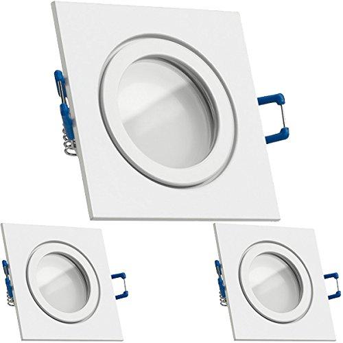 3er IP44 LED Einbaustrahler Set Weiß mit LED GU10 Markenstrahler von LEDANDO - 5W - warmweiss - 120° Abstrahlwinkel - Feuchtraum/Badezimmer - 35W Ersatz - A+ - LED Spot 5 Watt - Einbauleuchte eckig