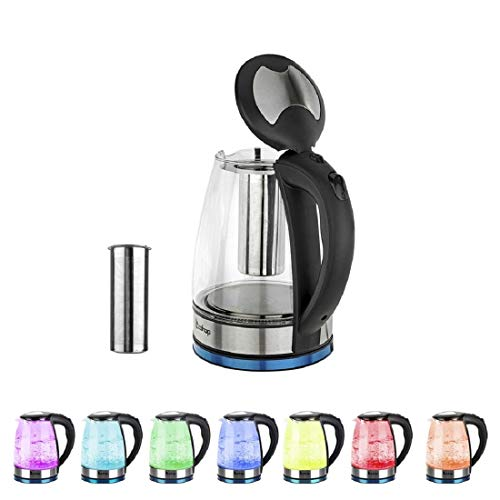 HD-1861-A 220V 2200W 1.8L Colorful Glass Electric Kettle with Filter, Specification:UK Plug Durable (Color : Color1)