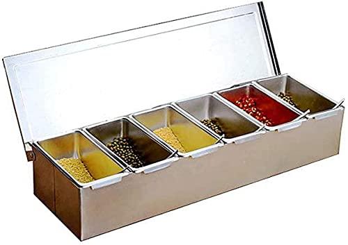 Patchwork Seasoning Box, Condiment Box, Seasoning Tank, Stainless Steel Seasoning Storage Rack Combo Set for Kitchen and Picnic