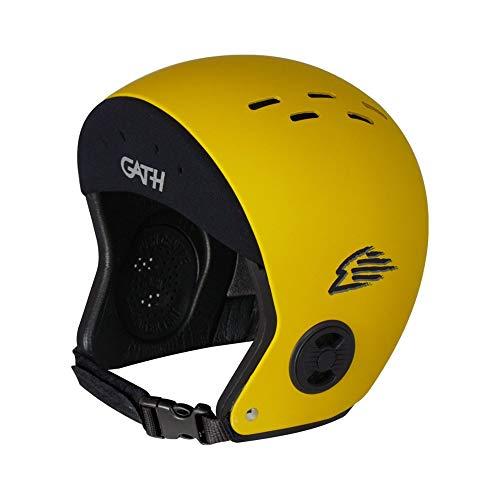 Gath Casco estándar para deportes acuáticos, talla XL, color amarillo con cinta de neopreno para la cabeza Kitesurf Surf