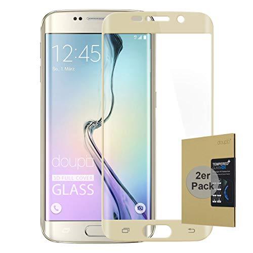 doupi 2X FullCover Panzerfolie für Samsung Galaxy S6 Edge, Preimium 9H Hartglas HD Bildschirmschutz Anti Kratzer Glas Schutzfolie (2er Pack), golden