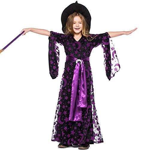 TIESALUONI Meisjes/Dames Cosplay Kostuum, Halloween Heks Jurk, Renaissance Middeleeuwse Gotische Victoriaanse Halloween Kostuum, Paarse Ster Maan Lange Rok