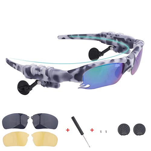 Smart Bluetooth Sunglasses Discolored Lenses Easy to Make Phone Calls and Listen to Music Navigation for Free a Pair of Black Lenses a Pair of Night Vision Yellow Lenses(Camouflage White)