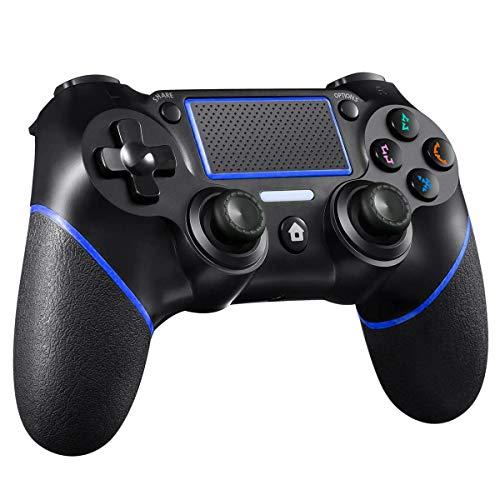 CHEREEKI Controller per PS4, Controller Gampad Wireless per Playstation 4/PS4 PRO/PS4 Slim con Touch Panel, Doppia Vibrazione, Giroscopio e Funzione Audio (Blu)