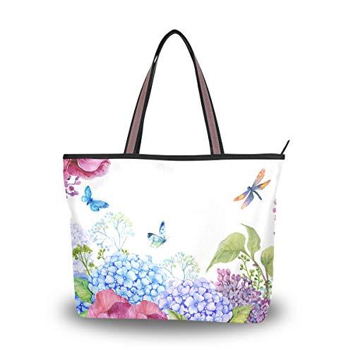 Mnsruu - Bolso de mano con cremallera para mujer, tamaño grande, bolsa de la compra casual, L (fllowers lila, violeta, hortensia, mariposa y libélula), color, talla Medium