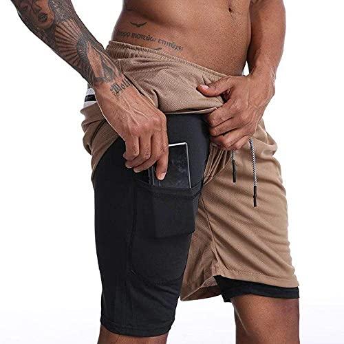 NKSS Hombres 2 En 1 Fitness Doble Pantalones Cortos Deportivos para Hombre Atlético Pantalones Cortos Cortando Entrenamiento Corto Ropa Deportiva-Caqui_XXXL
