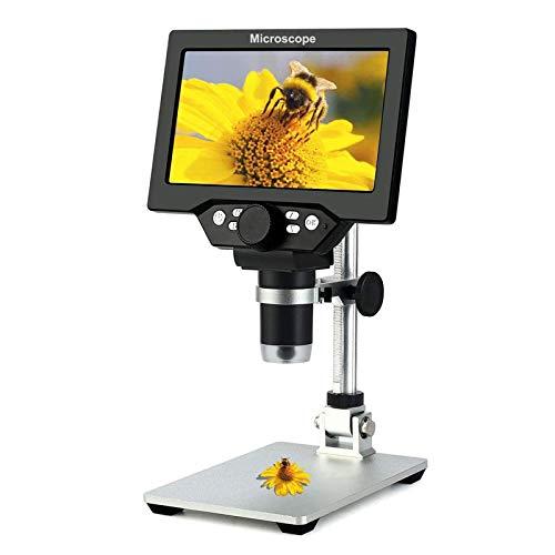 Microscopio de inspección Digital 7' LCD 1200X Ampliación Salida de TV 12.0MP con 8 Resalte Regulables Luz Micro SD de Almacenamiento de Cámara del Teléfono Móvil de Reparación LED