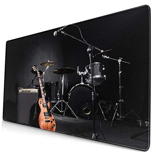 CANCAKA Large Gaming Mouse Pad,Music Musical Instruments Guitar with Drum in Black,Non-Slip Rubber Mouse Pads Mousepad for Gaming Computer Office Desk,75×40×0.3cm