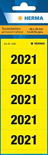 HERMA 1681 Jahreszahlen Aufkleber 2021 für Ordner (60 x 26 mm, Papier, matt, blickdicht) selbstklebend, permanent haftende Textetiketten, 100 Etiketten, gelb